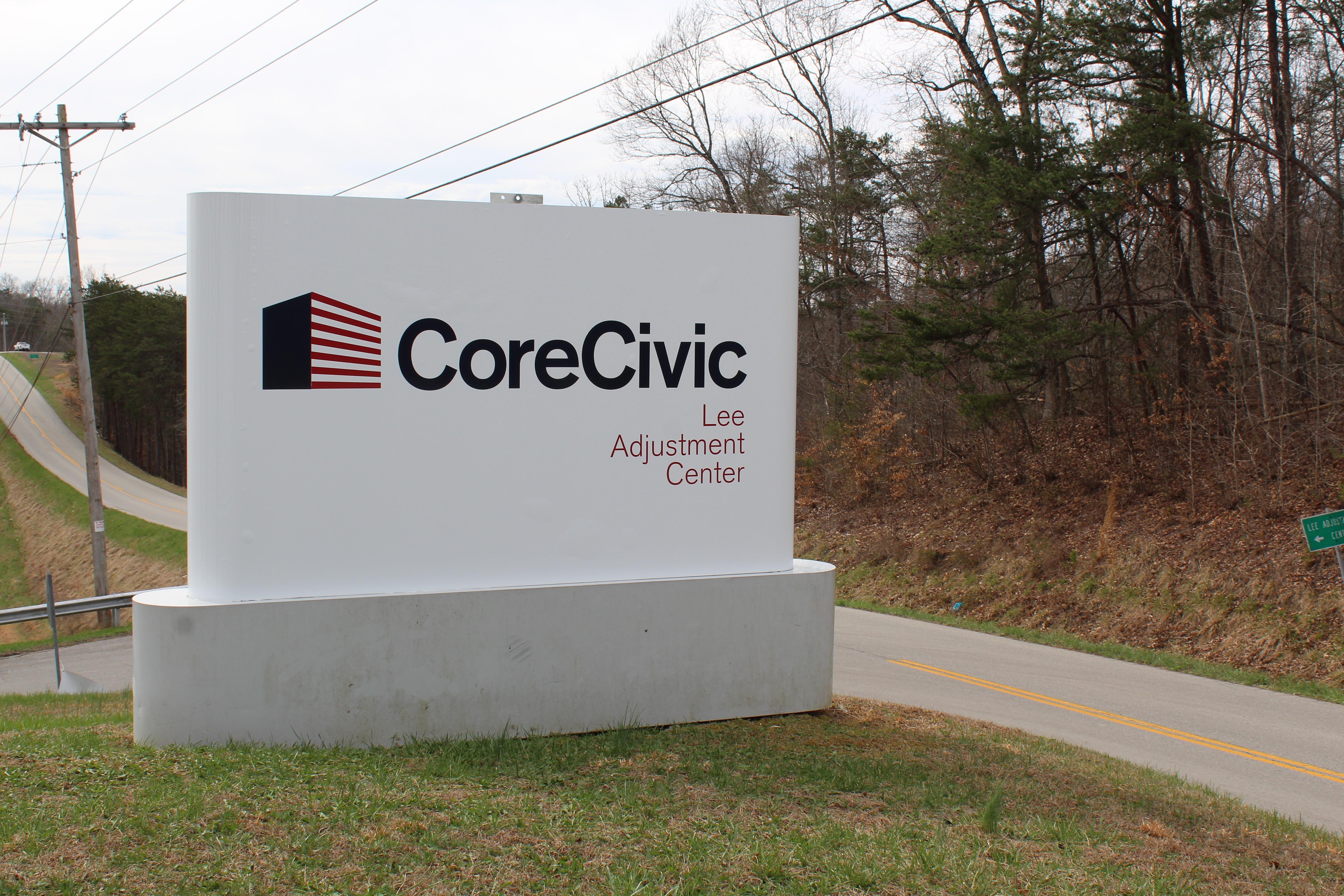 LAC Corecivic sign